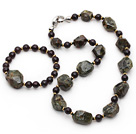 Assorted Green and Wine Red Coral Garnet Set ( Necklace and Matched Bracelet )