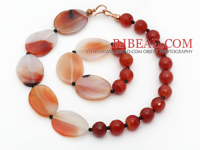 Round Carlian and Crazy Agate Stone Set ( Necklace and Matched Bracelet )