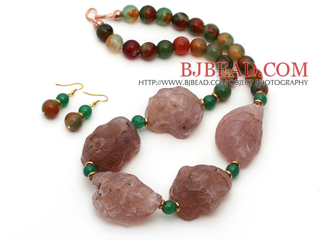 Natural Pink Agate and Peacock Agate Chunky Set ( Necklace and Matched Earrings )