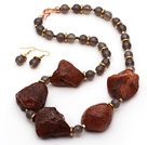 Gray Agate and Original Carnelian Stone Set ( Necklace and Matched Earrings )