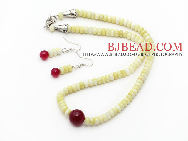 Abacus Shape Lemon Stone and Carnelian Set ( Necklace and Matched Earrings )