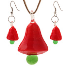 Moda Red Ceramic Christmas / Navidad Collar colgante árbol Con coincidentes Earrings