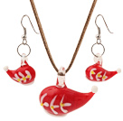 Nice Red Ceramic Christmas/Xmas Hat Pendant Necklace With Matched Earrings Sets