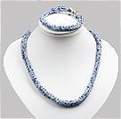 Classic Sparkly Blue Jade-Like Crystal Necklace With Matched Bracelet Set under $ 30