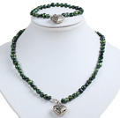 Classic Simple Design Potato Shape Deep Green Pearl Necklace & Bracelet Set With Heart Charm