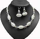 Vintage Style Natural Whilte Pearl Crystal And Colored Glaze Necklace And Earrings Set