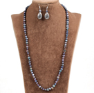 Graceful Long Style Natural Black Freshwater Pearl Jewelty Set (Necklace & Earrings)