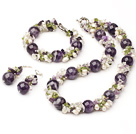 Fashion Round Amethyst And Cluster Freshwater Pearl Olive Sets (Necklace With Matched Bracelet And Earrings)