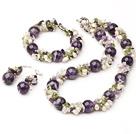 Fashion Ronde Amethist En Cluster zoetwaterparels Olive Sets (Ketting Met Matched armband en oorbellen )
