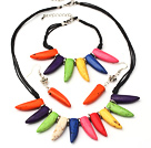 Prachtige Multi Color Ox - Horn Shape Turquoise Sets (Ketting Met Matched armband en oorbellen )