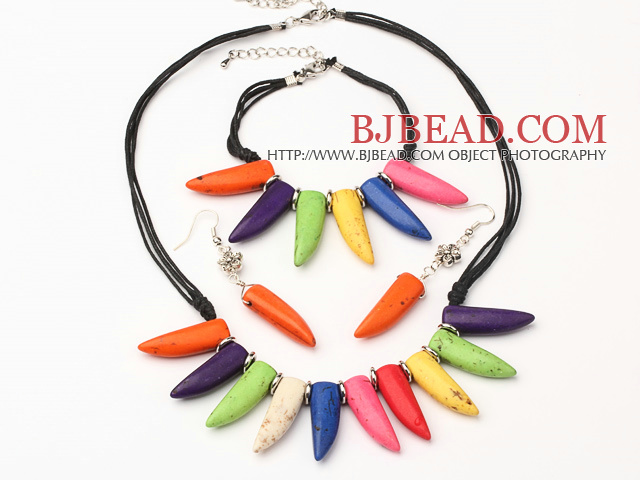 Wonderful Multi Color Ox-Horn Shape Turquoise Sets (Necklace With Matched Bracelet And Earrings)