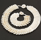 Beautiful 15mm Layer Style Disc Shape White Shell Necklace Bracelet Sets under $ 40