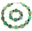 Fashion Green Series Irregular And Round Agate Beaded Jewelry Sets (Necklace With Matched Bracelet)