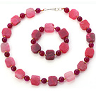 Fashion Pink Series Irregular And Round Agate Beaded Jewelry Sets (Necklace With Matched Bracelet)