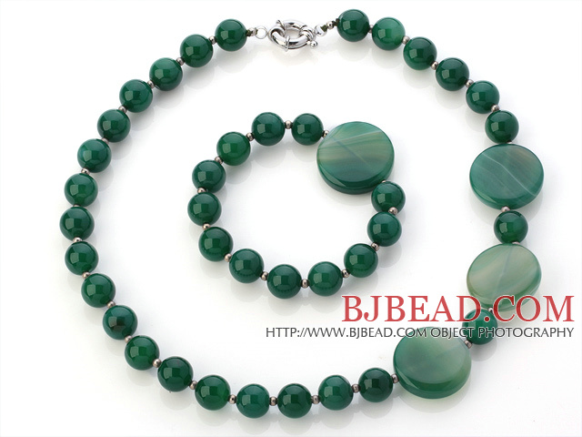 Pretty Pure And Flat Round Green Agate Beaded Jewelry Sets (Necklace With Matched Bracelet)