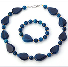 Fashion Round And Nut Shape Blue Agate Beaded Jewelry Sets (Necklace With Matched Bracelet)