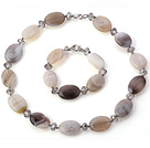 Nice Oval Shape Gray Agate Gray Crystal Beads Jewelry Sets (Necklace With Matched Bracelet)