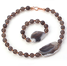 Fashion Round And Large Irregular Gray Agate Beaded Jewelry Sets (Necklace With Matched Bracelet)