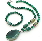 Fashion Round And Cylinder Shape Green Agate Beaded Pendant Necklace And Stretch Bracelet Sets