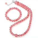 Fashion Round Pure Cherry Quartz Beaded Necklace With Matched Elastic Bracelet Jewelry Set