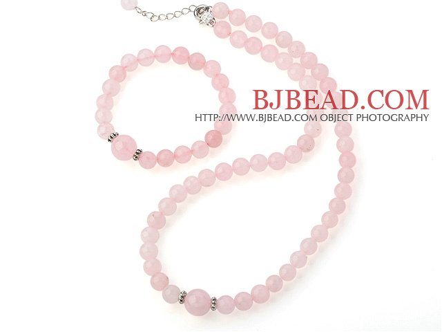 Fashion Round Pure Rose Quartz Beaded Necklace With Matched Elastic Bracelet Jewelry Set