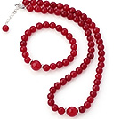 Fashion Natural Round Rose Agate Beaded Necklace With Matched Elastic Bracelet Jewelry Set