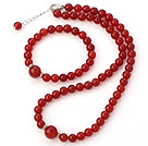 Fashion A Grade Natural Round Red Agate Beaded Necklace With Matched Elastic Bracelet Jewelry Set