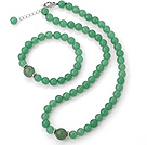 Fashion Natural Round Aventurine Beaded Necklace With Matched Elastic Bracelet Jewelry Set