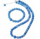 Fashion A Grade rotonda naturale cielo blu agata collana con bordino con abbinati insieme dei monili braccialetto elastico