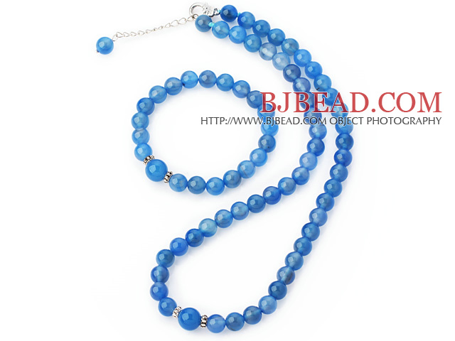 Fashion A Grade Natural Round Sky Blue Agate Beaded Necklace With Matched Elastic Bracelet Jewelry Set