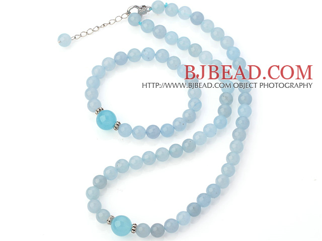 Nice Natural Round Blue Jade Beaded Necklace With Matched Elastic Bracelet Jewelry Set