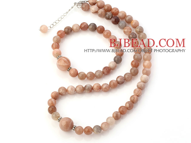 Nice Natural Round Moonstone Beaded Necklace With Matched Elastic Bracelet Jewelry Set