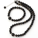 Fashion Natural Round Obsidian Stone Beaded Necklace With Matched Elastic Bracelet Jewelry Set