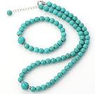 Moda rotonda naturale del turchese bordato collana con abbinati insieme dei monili braccialetto elastico