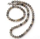 Flot naturlig 8mm Runde Sne Stone Beaded halskæde med Matched elastisk armbånd smykker sæt