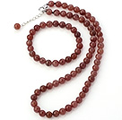 Pretty Natural 8mm Round Strawberry Quartz Beaded Necklace With Matched Elastic Bracelet Jewelry Set