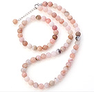 Pretty Natural 9mm Round Pink Opal Beaded Necklace With Matched Elastic Bracelet Jewelry Set