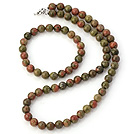 Pretty Natural 8mm Round Green Piebald Stone Beaded Necklace With Matched Elastic Bracelet Jewelry Set
