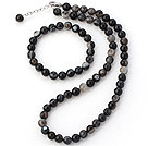 Charming Natural 8mm Round Eye Shape Agate Beaded Necklace With Matched Elastic Bracelet Jewelry Set under $ 40