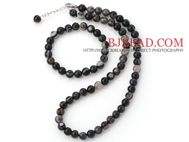 Charming Natural 8mm Round Eye Shape Agate Beaded Necklace With Matched Elastic Bracelet Jewelry Set