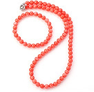 Charming Natural 7mm Round Pink Coral Beaded Necklace With Matched Elastic Bracelet Jewelry Set under $ 40