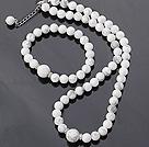 Dejlig Round White Turquoise beaded halskæde med matchede elastisk armbånd smykker sæt