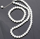 Fashion 8mm Round White Shell Beads Necklace With Matched Elastic Bracelet Jewelry Set under $ 40