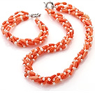 Fashion Multi Strands Twisted White Freshwater Pearl And Orange Coral Sets (Necklace With Matched Bracelet) under $ 40