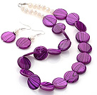 Fashion White Freshwater Pearl And Purple Round Disc Painted Shell Sets (Necklace With Matched Earrings)