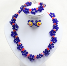 Fancy Style Blue Red Colored Crystal Flower Jewelry Set (Necklace With Mathced Bracelet And Earrings)
