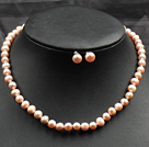 Pink Rise Pearl Necklace and Matched Studs Earrings Sets