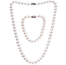 Fashion 8-9mm Natural White Freshwater Pearl Beaded Jewelry Sets (Necklace With Matched Bracelet, No Box)