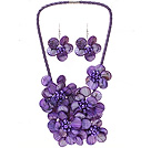 Fashion Natural Purple Series Shell Pearl Flower Sets (Purple Leather Necklace With Matched Earrings)