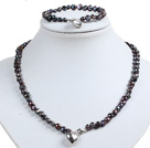 Classic Simple Design Potato Shape Ash Black Pearl Necklace & Bracelet Set With Heart Charm